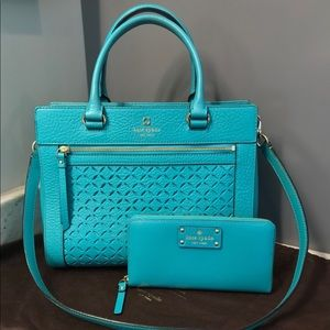 Kate Spade Perforated Teal Leather Purse & Wallet